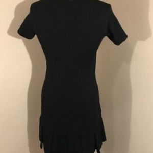 Theory Black Large Pleated Career Dress Short Slv